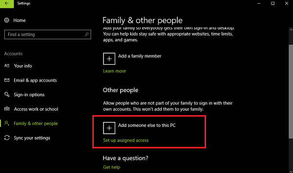 Create a new user account in windows 10
