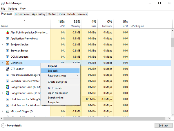 end cortana process from task manager
