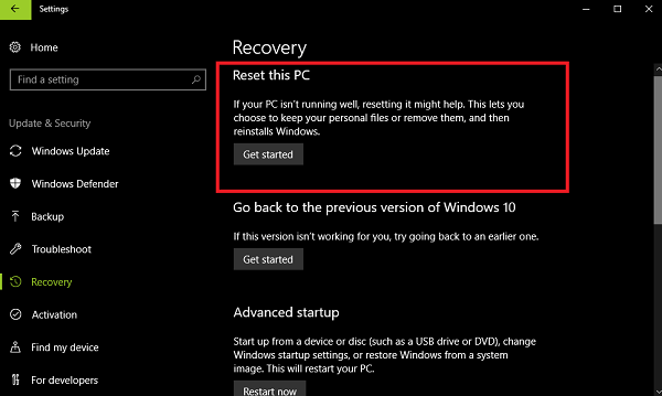 reset this pc in windows 10