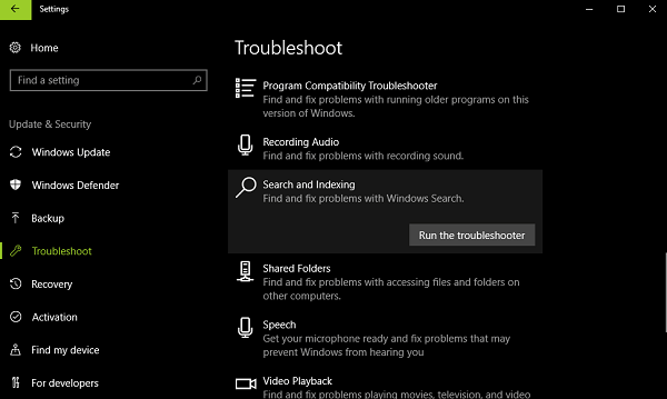 search and indexing troubleshooter in windows 10