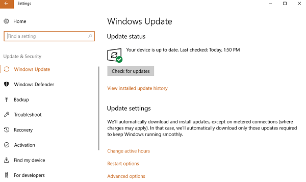 Check windows update status