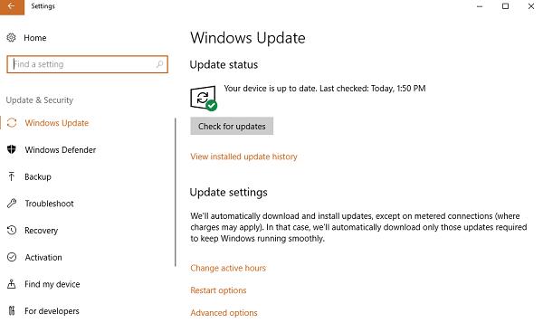 Check windows update status