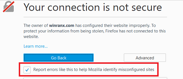 Report errors like this to help Mozilla identify and block malicious sites