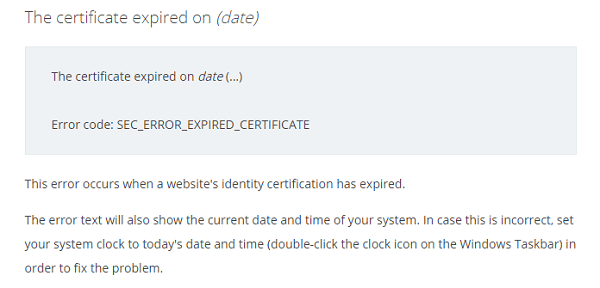 The certificate expired on (date)