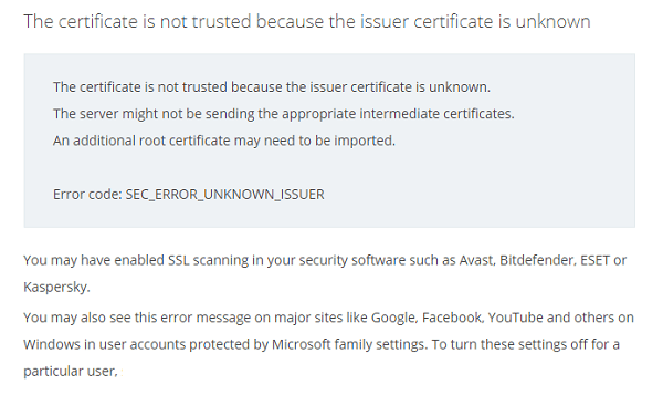 The certificate is not trusted because the issuer certificate is unknown