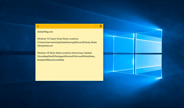 Windows 10 Sticky Notes Location
