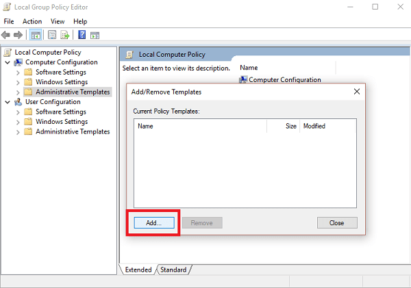 add current policy templates in windows 10