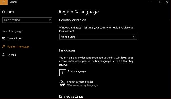 change language in windows 10
