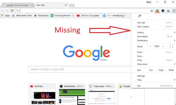 disable google chrome incognito mode 2017