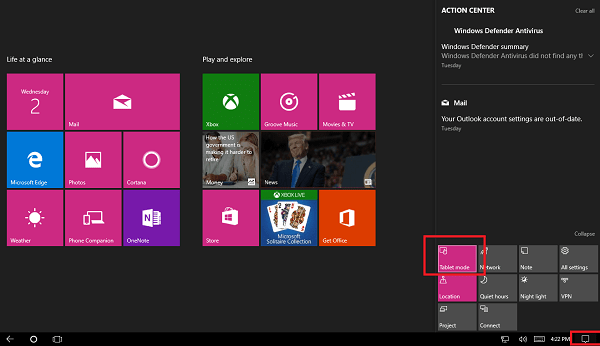 enable tablet mode in windows 10