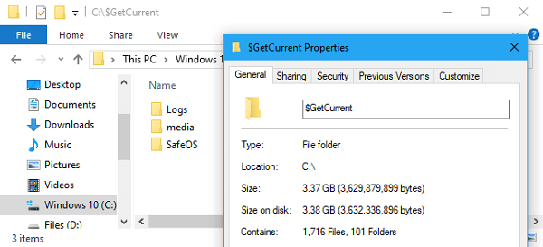 getcurrent folder in windows 10