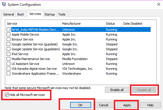 hide all microsoft services in system configuration windows 10