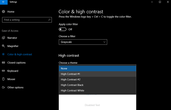 windows 10 high contrast theme