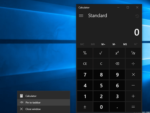 pin calculator app to taskbar