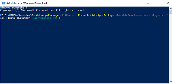 reregister task manager using powershell in windows 10
