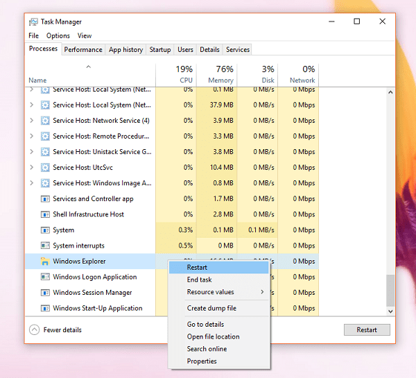 restart windows explorer in windows 10
