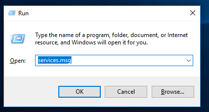 run dialog box in windows 10