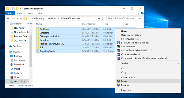 delete softwaredistribution folder in windows 10