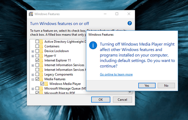 turn off windows media player