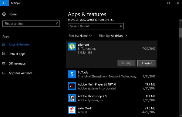uninstall apps in windows 10