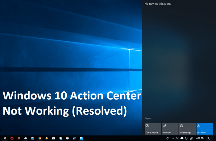 windows 10 action center not working