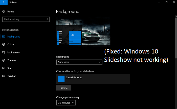 Windows 10 Slideshow not working