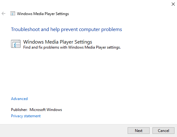 windows media player troubleshooter
