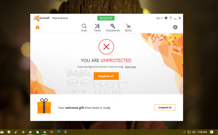 Avast Background Service is Not Running Windows 10