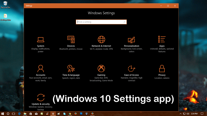 how to open Settings app in Windows 10