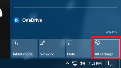 Open Settings apps in Windows 10 using Action Center