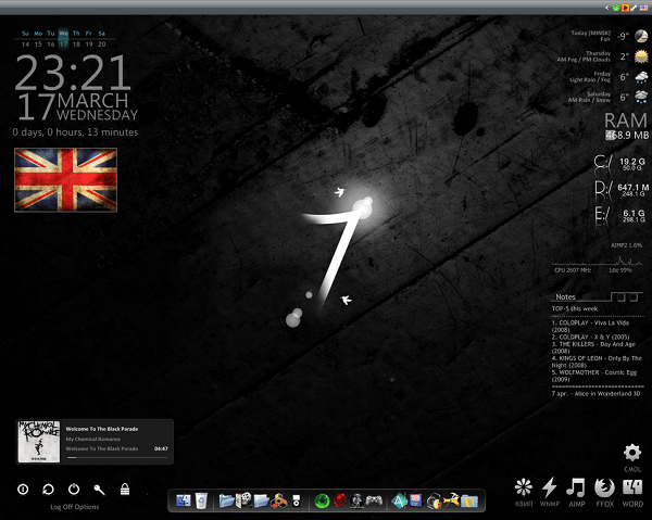 black parade 7 skin for rainmeter