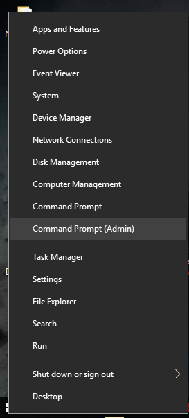 Run Elevated Command Prompt using WinX Menu in Windows 10