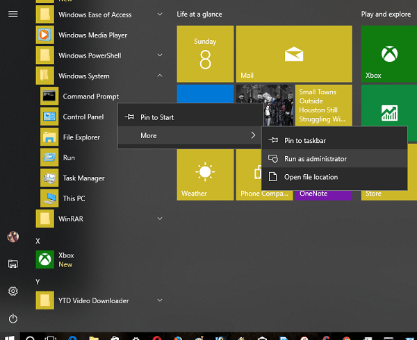Run Elevated Command Prompt from Start Menu in Windows 10