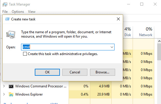 run command from create new task option in taskbar