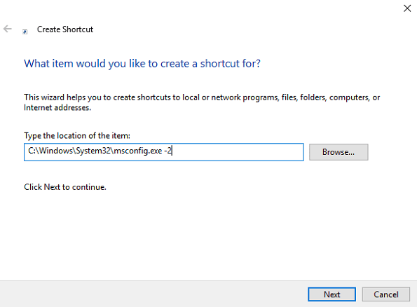 create shortcut window in windows 10