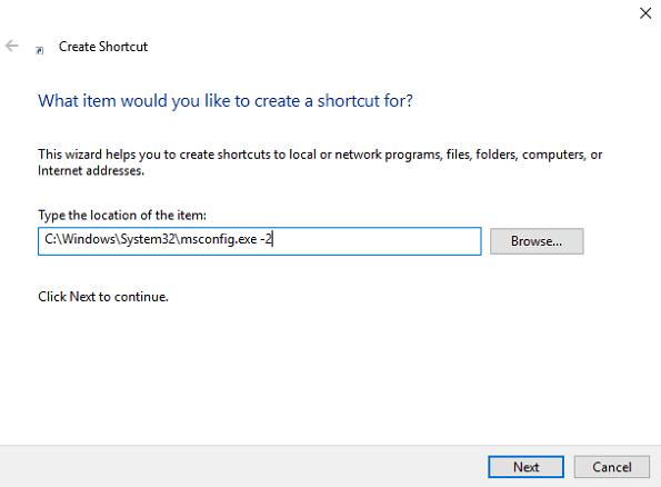 create shortcut window in windows 10