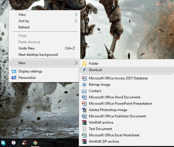 create shortcut in windows 10