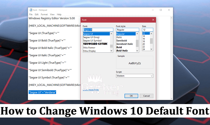 how to change windows 10 default font