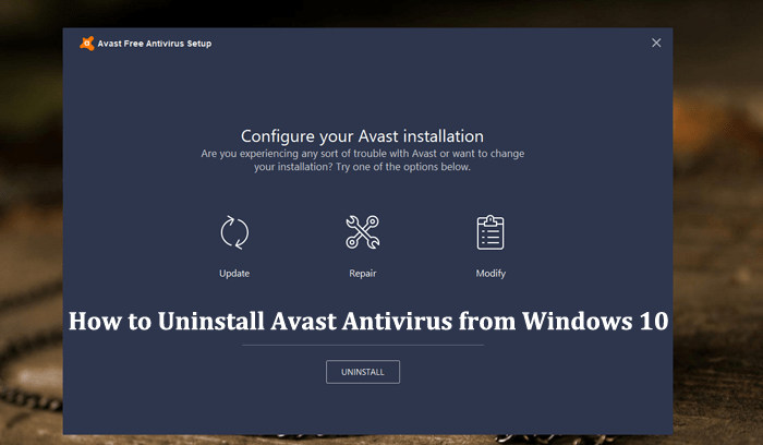how to uninstall avast antivirus from windows 10