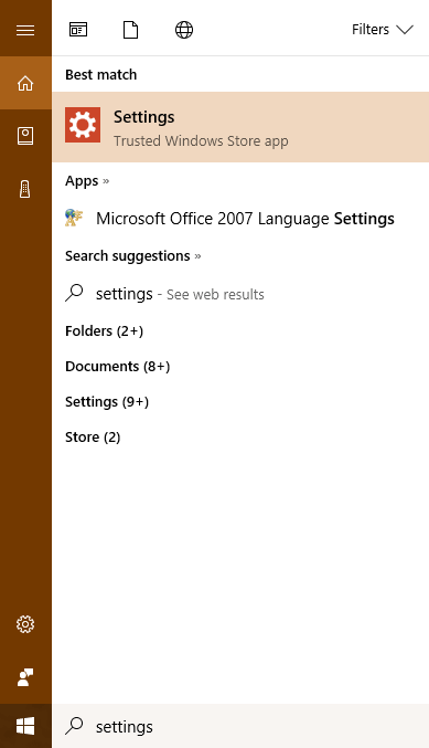 Open Settings apps in Windows 10 using Search