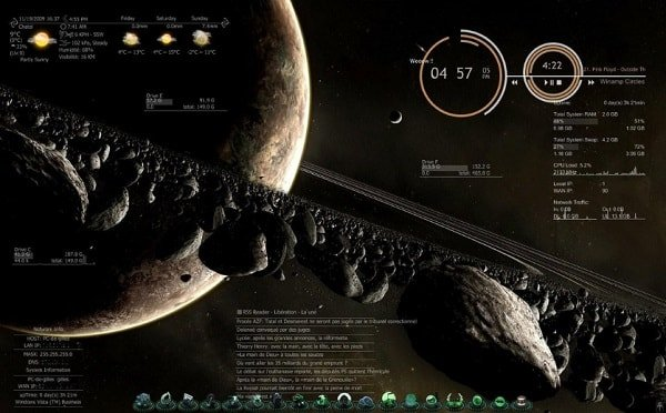 meteor glimpse skin for rainmeter