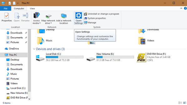 Open Settings apps in Windows 10 using File Explorer