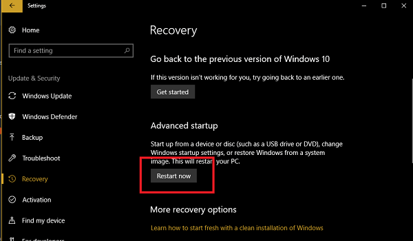windows 10 recovery options