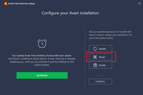 repair avast antivirus in windows 10