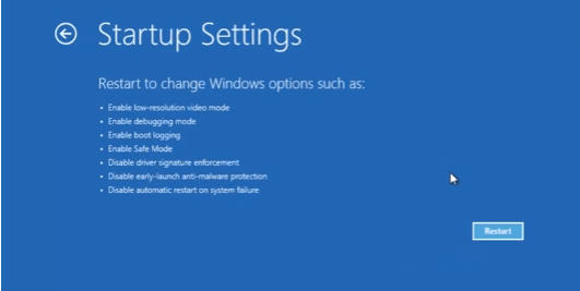 Restart to change advanced boot options