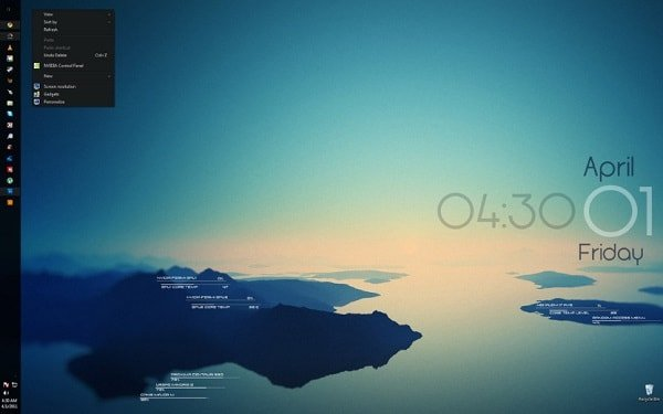 rising reflection interface skin for rainmeter