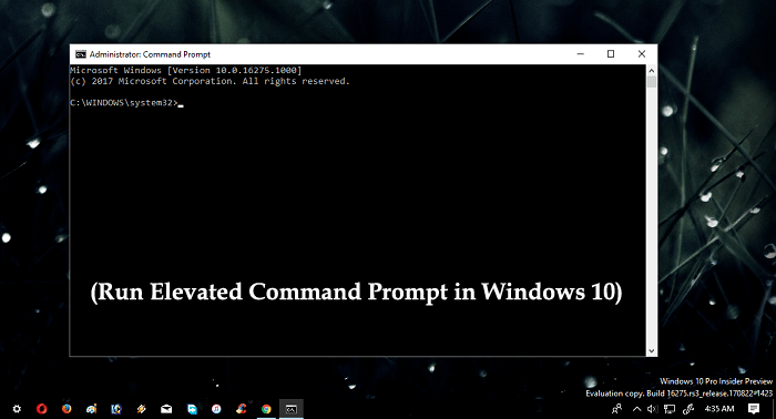 run elevated command prompt in windows 10