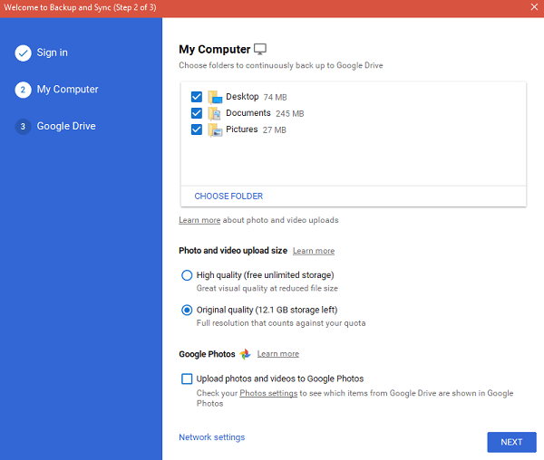 select what to sync google drive