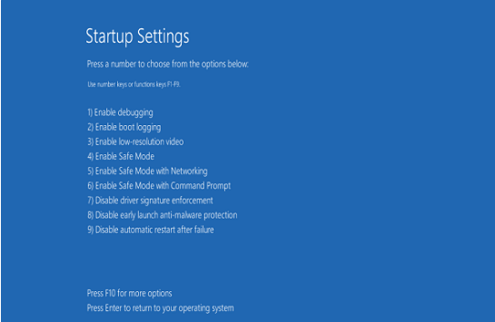 enable safe mode using Advanced Startup Options