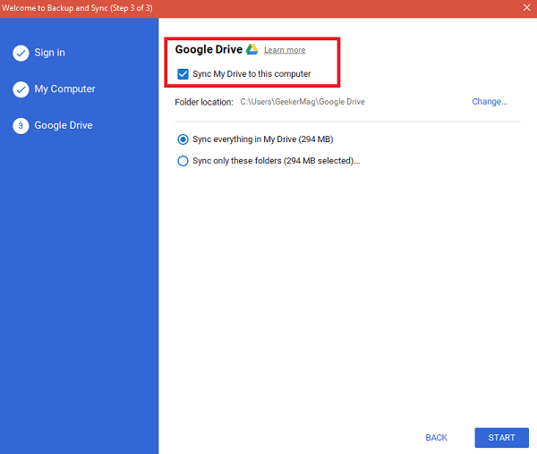sync google drive file and folders windows 10